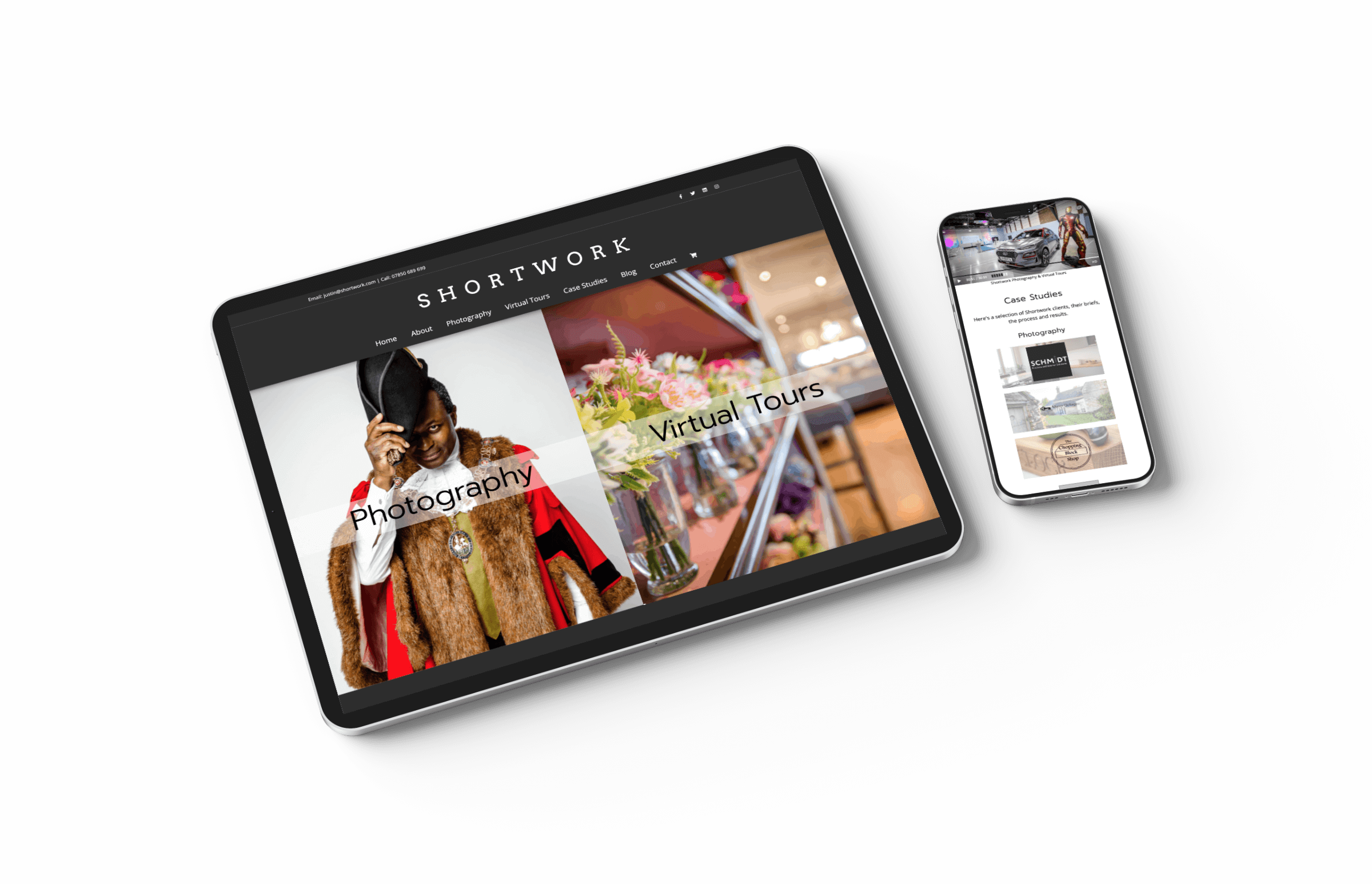 Shortwork website on iPad & iPhone
